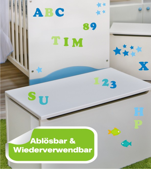 Möbelsticker ABC blau Set