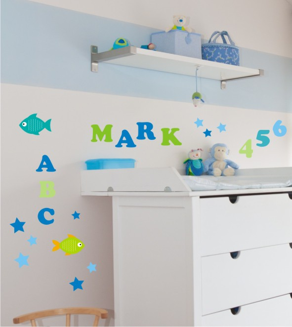 Wandsticker ABC blau Set
