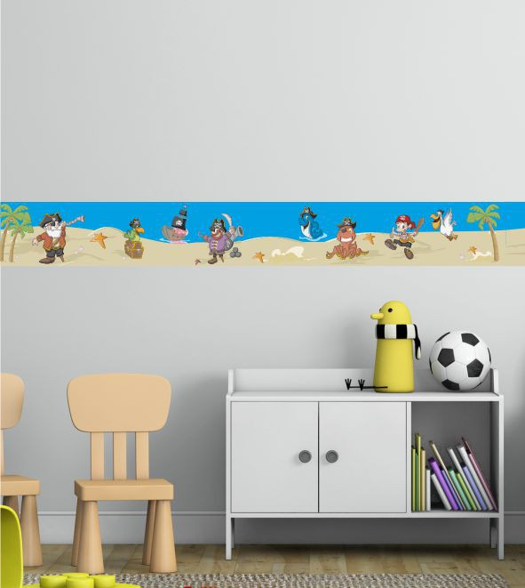 wandsticker piraten bord re bunte bord ren f r das kinderzimmer mit einer pirateninsel. Black Bedroom Furniture Sets. Home Design Ideas
