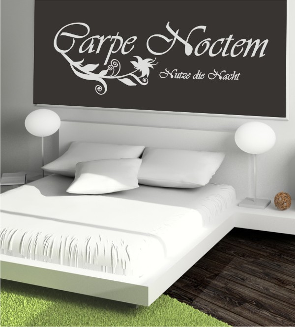 carpe noctem als wandtattoo tolle wandtattoos f r das schlafzimmer. Black Bedroom Furniture Sets. Home Design Ideas