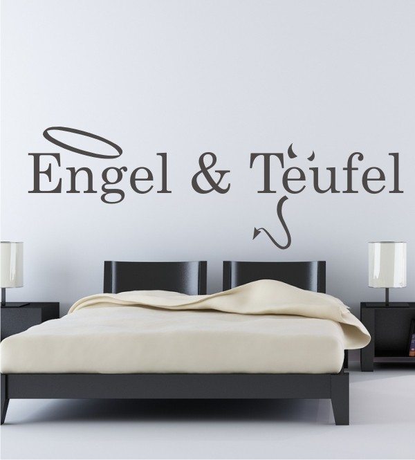 engel und teufel als wandtattoo engel mit heiligenschein. Black Bedroom Furniture Sets. Home Design Ideas