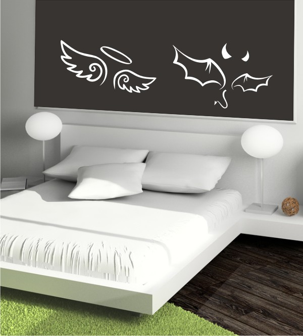 engel teufel als wandtattoo g nstige wandtattoos aus dem wandtattoo sale. Black Bedroom Furniture Sets. Home Design Ideas