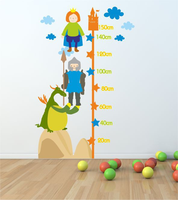 Wandsticker Messlatte Ritter - Bunte Sticker für das Kinderzimmer in ...