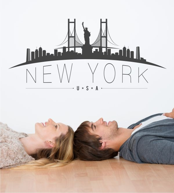 new york skyline als wandtattoo. Black Bedroom Furniture Sets. Home Design Ideas