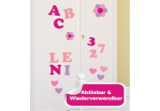 Möbelsticker ABC Rosa Set