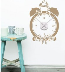 Wandtattoo uhr Coffee Time