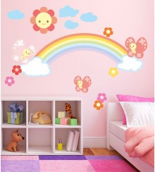 Wandsticker Regenbogen Party Set