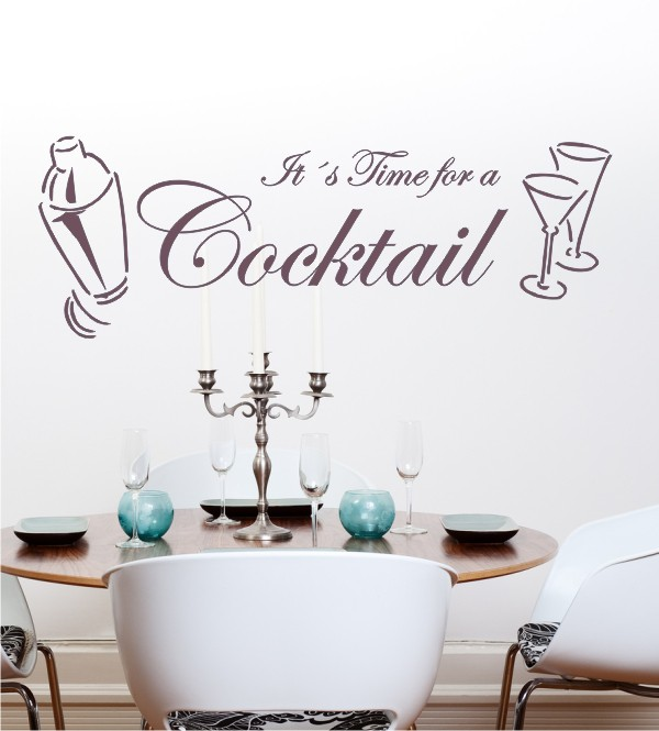 It´s Time for Cocktail als Wandtattoo